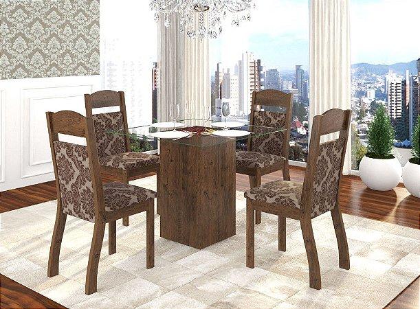 Conjunto Sala de Jantar Top Mesa 85x85 + 4 Cadeiras Castanho