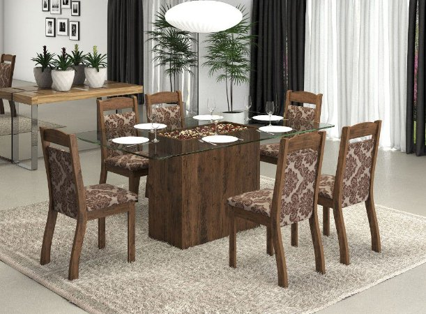 Conjunto Sala de Jantar Top Mesa 130x80 + 6 Cadeira Castanho