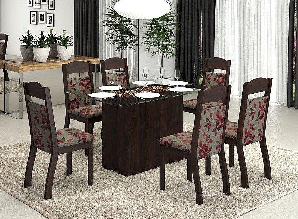 Conjunto Sala de Jantar Top Mesa 130x80 + 6 Cadeiras Imbuia