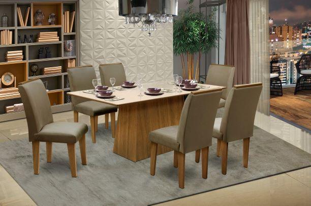 Conjunto Sala de Jantar Florença c/ 6 Cadeiras 160x90 Dobue
