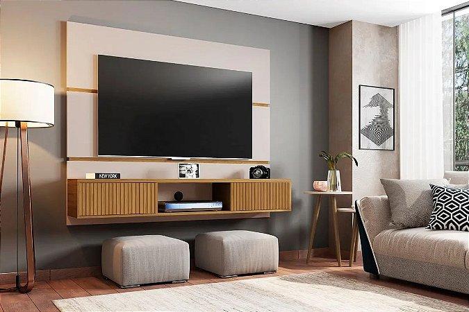 Painel Ambar p/ TV 65  160x33x136  Off/Canela/Ripado Bechara