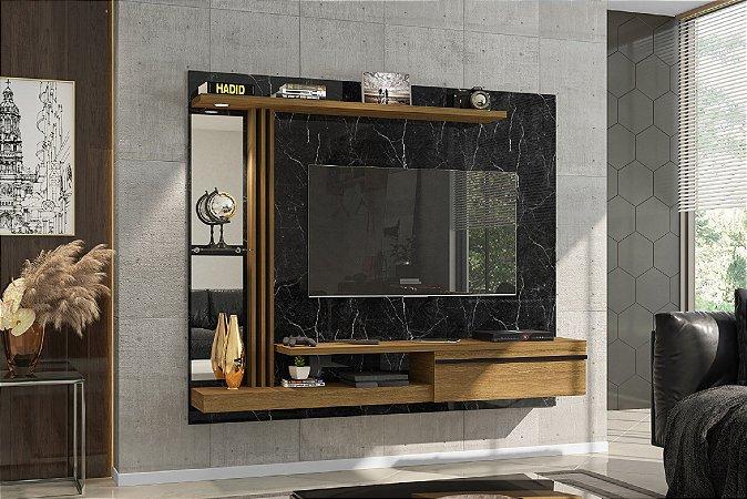 """Painel Para TV 55"""" Denver Bechara Nero/Canela 136x160x29"""
