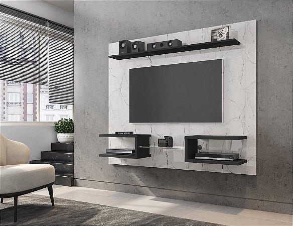 """Painel TV 55"""" Atlas Bechara Carrara/Preto Fosco 136x163x30"""
