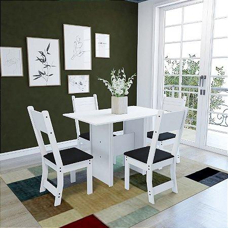 Conjunto Mesa C/ 4 Cadeiras Luiza Indekes Branca 78x68x110