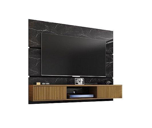 """Painel p/ TV 65"""" Ambar Bechara Nero/Canela Rip 160x33x136"""