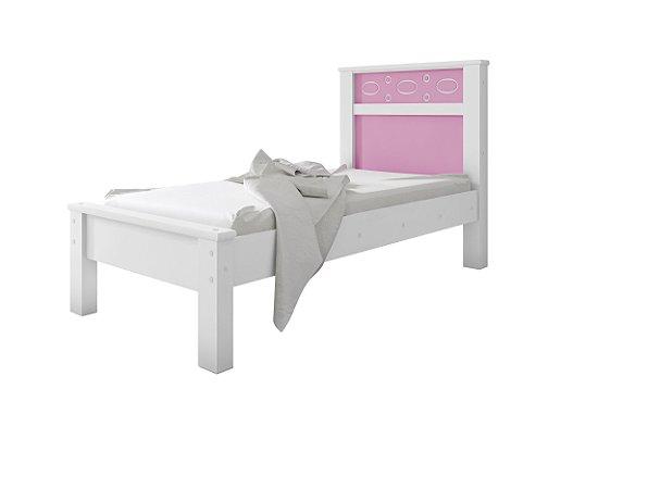Cama Solteiro Las Vegas Geval Branco/Rosa 111x98x202