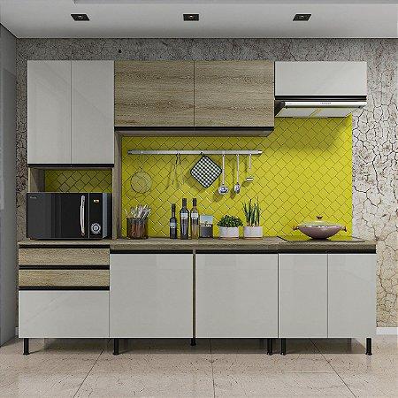Cozinha Planejada Pérola Indekes Off / Castanho 217x255x53