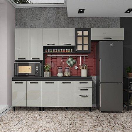 Cozinha Planejada Marie Indekes Off White / Cinza 204x270x53