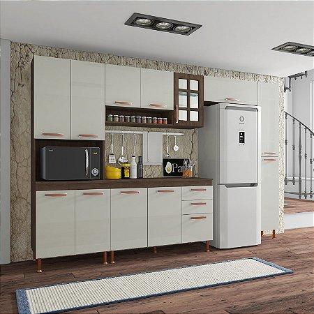 Cozinha Planejada Marie Indekes Off White / Noce 204x305x53