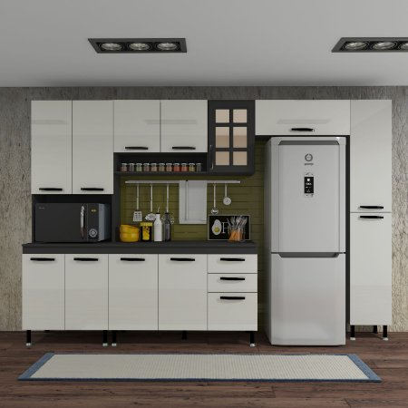 Cozinha Planejada Marie Indekes Off White / Cinza 204x305x53