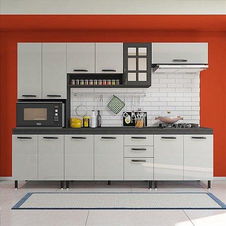 Cozinha Planejada Marie Indekes 5 Peças Cinza 204x270x53