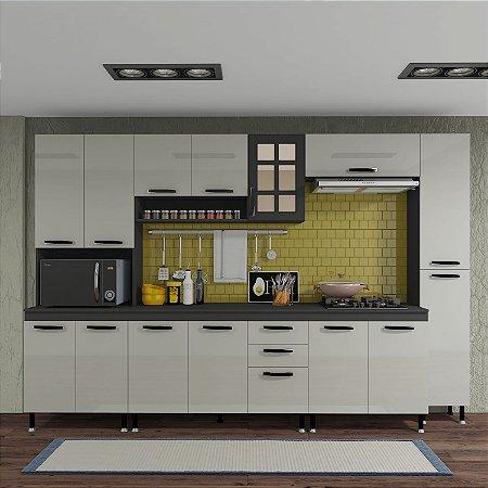 Cozinha Planejada Marie Indekes 6 Peças Cinza 204x305x53