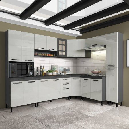 Cozinha Planejada Marie Indekes Off White / Cinza 204x265x53