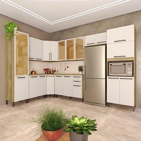 Cozinha Planejada Lis Indekes 9 Pçs Off White 226x343x53