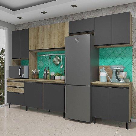 Cozinha Planejada Pérola Indekes Cinza / Castanho 217x325x53