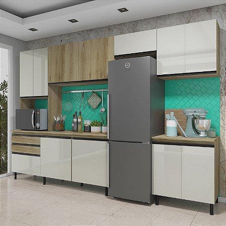 Cozinha Planejada Pérola Indekes Off / Castanho 217x325x53