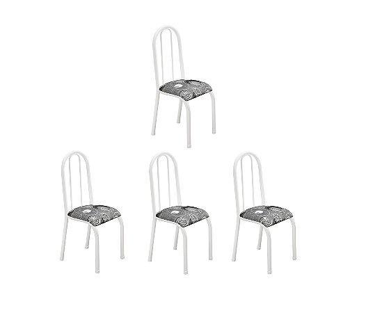 Conjunto 4 Cadeiras Carla Ref114/15 Madmelos Branco 97x39x47