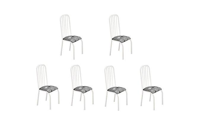 Conjunto 6 Cadeiras Gabi Ref260/15 Madmelos Branco 102x39x47