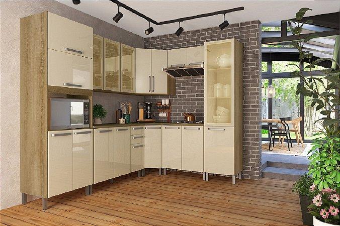 Cozinha Planejada Lis Indekes 8 Pçs Off/Castanho 53x263x226