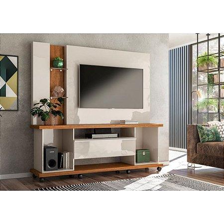 "Home Onix p/ TV 55"" 183x178x45 Off White/Amêndoa Lukaliam"