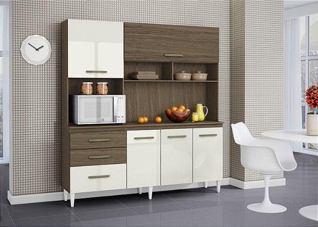 Cozinha Completa Lory Aramóveis 194X182X39 Off White/Imbuia