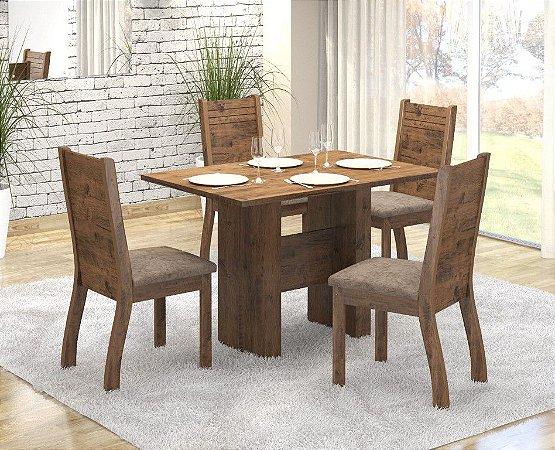 Conj Sala de Jantar Mesa 120X80 +4 Cadeiras Dublin Castanho