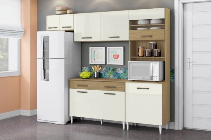 Cozinha Completa Leyla com balcão 5Pt/3Gav Off White/Canela