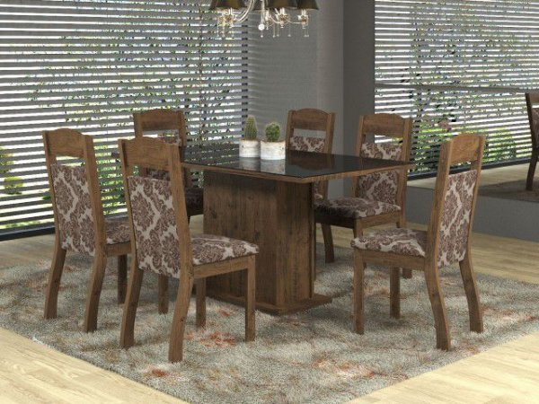 Conj Sala Jantar Capri Mesa 160x90 c/ 6 Cadeiras Preto/Cast