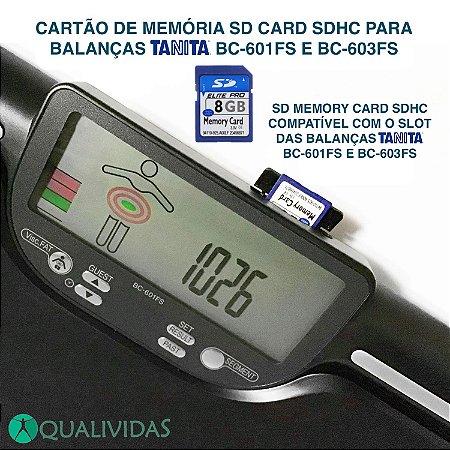 Cartão de memória SD Card SDHC para balança Tanita BC 601 FS e BC 603 FS