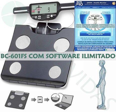 Balança de Bioimpedância Tanita BC 601 com Software Ilimitado em Português Profissional Oficial