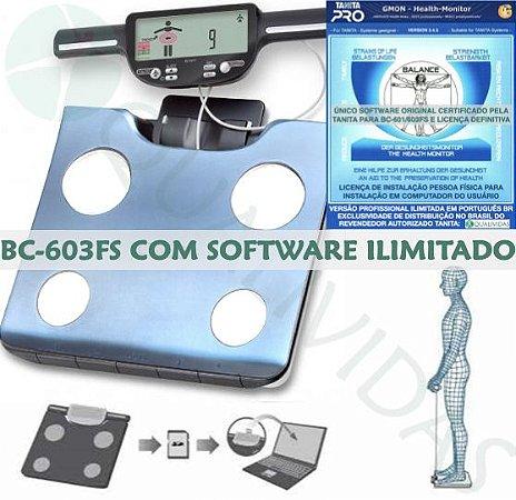 TANITA OFICIAL Balança Tanita BC 601 ou 603 FS com Software Ilimitado Tanita Pro Gmon Health Brasil