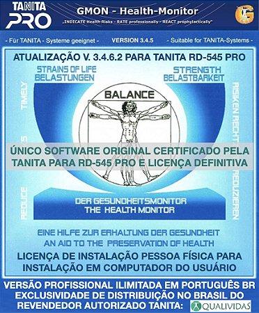 Software Tanita Pro Gmon Health Original Profissional Ilimitado em Português para a balança RD 545 pessoa física