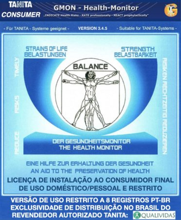 Software Tanita Consumer Gmon Health restrito a 8 registros para Balança Tanita BC 601 BC 603 FS e BC 1000 uso pessoal