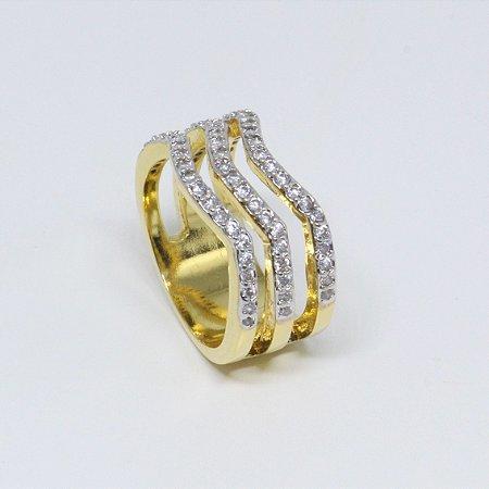 Anel triplo de zircônias cristais banhado a ouro