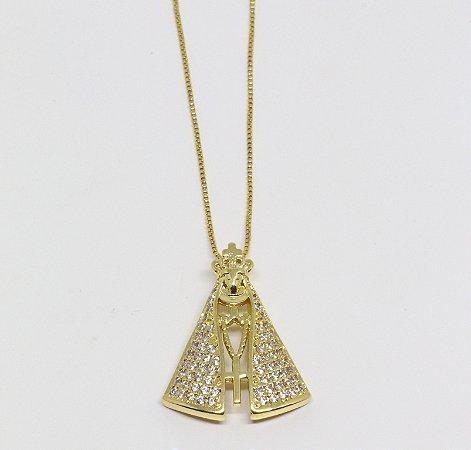 Gargantilha de Nossa Senhora Aparecida em zircônias cristais