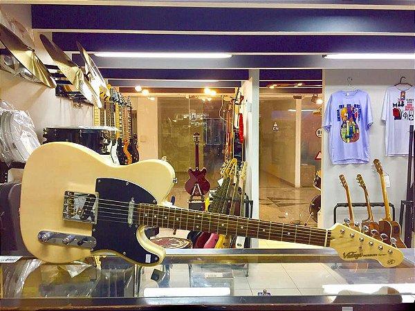 Guitarra Vintage V2 Bld   Tele   Escala Em Rosewood   Blonde