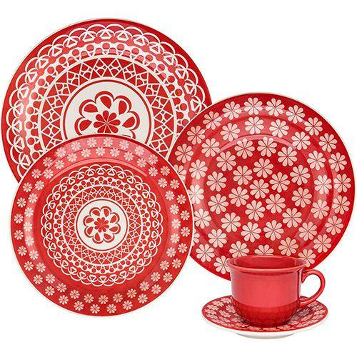 Aparelho De Jantar Porcelana Floral Renda 20PCS