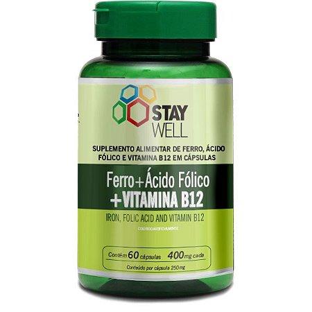 Ferro, Ácido Fólico E Vitamina B12 60 Caps 250mg -stay Well