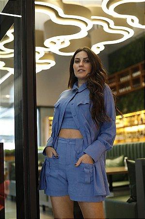 Shorts Alfaiataria Azul