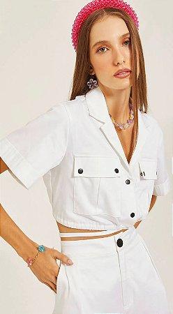 Blusa com Amarração Off White
