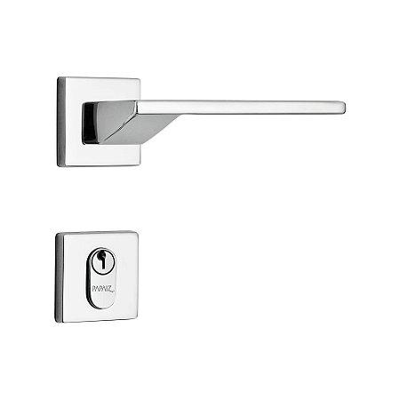 Fechadura para Porta de Entrada Cromado 55mm com Roseta MZ440 Design Papaiz