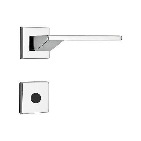 Fechadura para Porta de Banheiro Cromada 55mm com Roseta MZ440 Design Papaiz