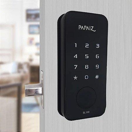 Fechadura Digital Smart Lock Embutida Preta SL110 sem Maçaneta Papaiz