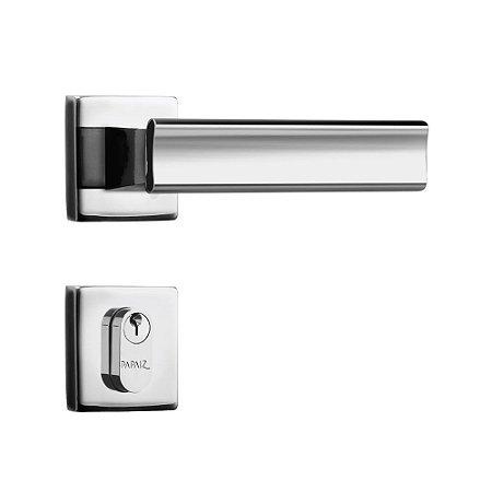 Fechadura para Porta de Entrada Cromada 40mm com Roseta MZ640 Design Papaiz