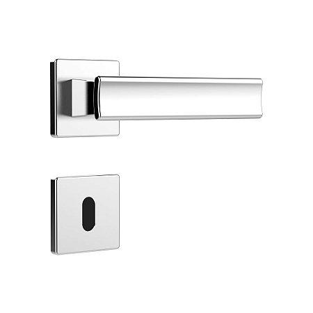 Fechadura para Porta Interna Cromada 40mm com Roseta MZ640 Design Papaiz