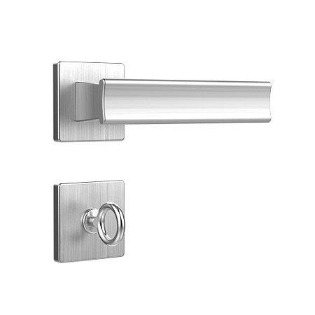 Fechadura para Porta de Banheiro Cromo Acetinado 40mm com Roseta MZ640 Design Papaiz