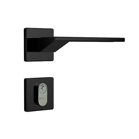 Fechadura para Porta de Entrada Preto Fosco 40mm com Roseta MZ630 Design Papaiz