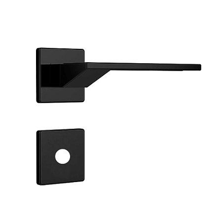 Fechadura para Porta de Banheiro Preto Fosco 40mm com Roseta MZ630 Design Papaiz