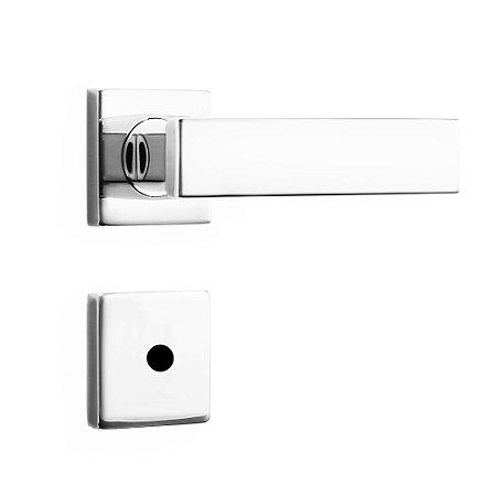 Fechadura de Inox para Porta de Banheiro Cromada55mm com Roseta MI670 InoxvitaPapaiz