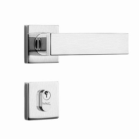 Fechadura de Inox para Porta de Entrada Cromo Acetinado55mm com Roseta MI670 InoxvitaPapaiz